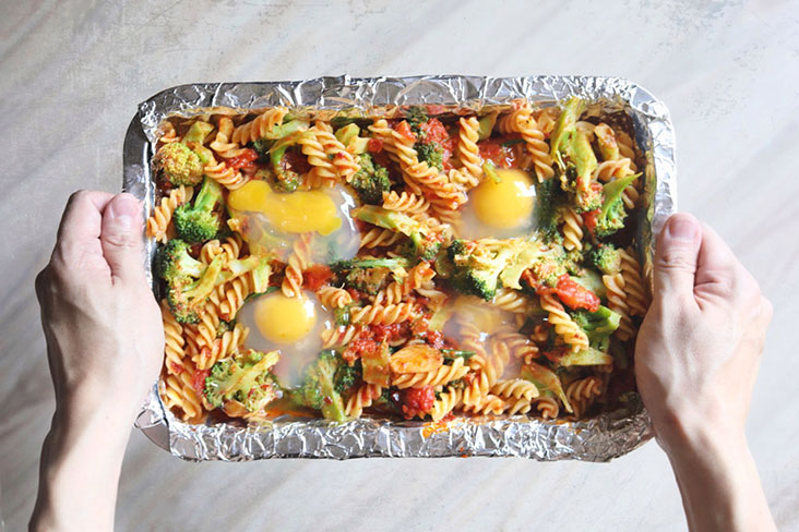 Make wells in the broccoli and pasta mixture for each egg – Pictures by CK Lim