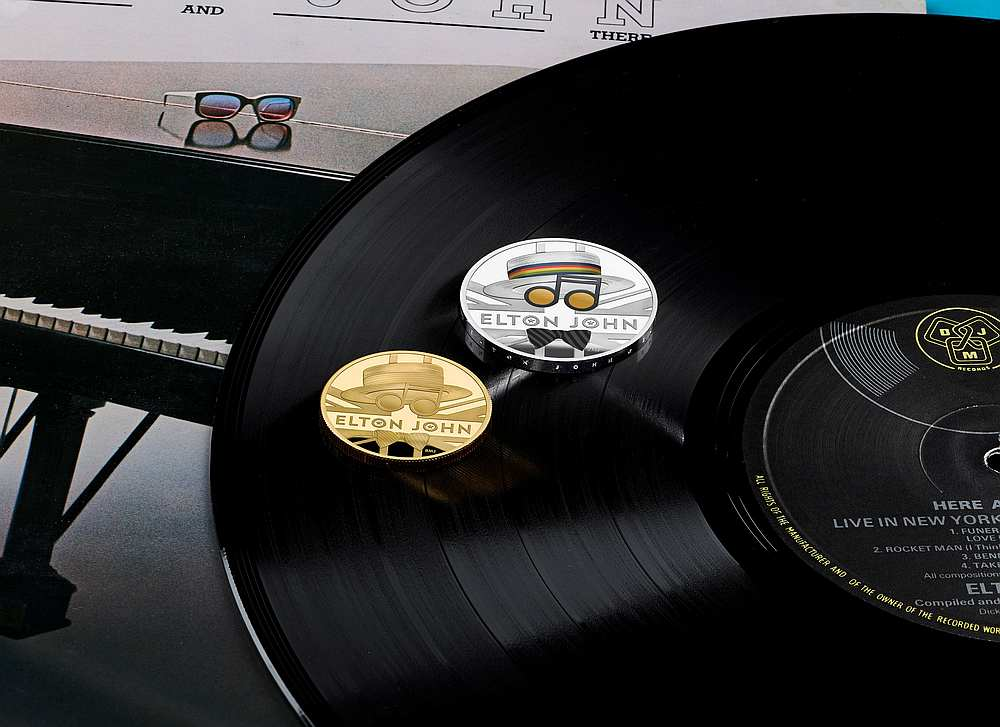 One ounce gold and silver coins from the new competitive Elton John coin collection released by Britain's Royal Mint July 5, 2020. — Royal Mint/Elton John handout via Reuters