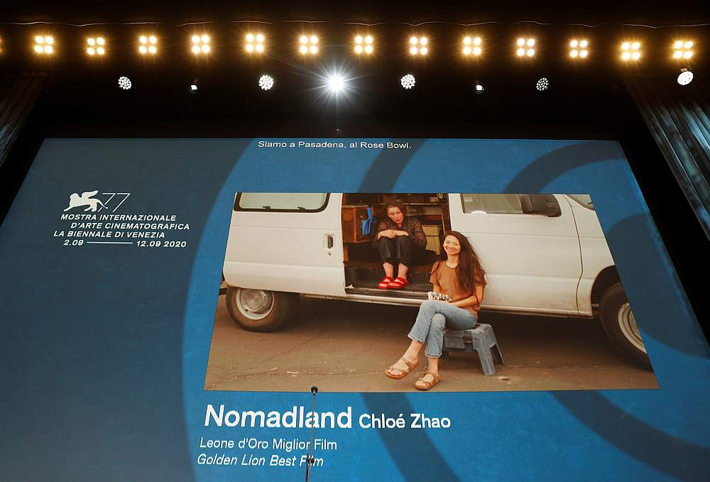 Director Chloe Zhao wins the Golden Lion award for Best Film 'Nomadland' at the 77th Venice Film Festival, Venice, Italy September 12, 2020. — Reuters pic