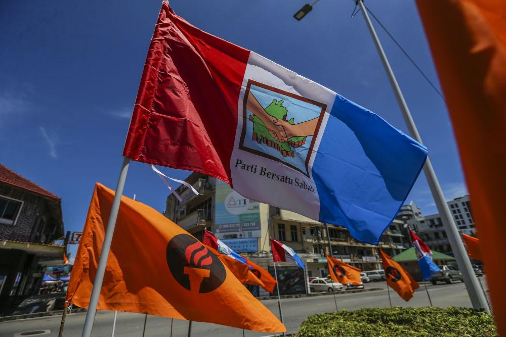 A Parti Bersatu Sabah flag is pictured in Kota Kinabalu, Sabah September 13, 2020. — Picture by Firdaus Latif