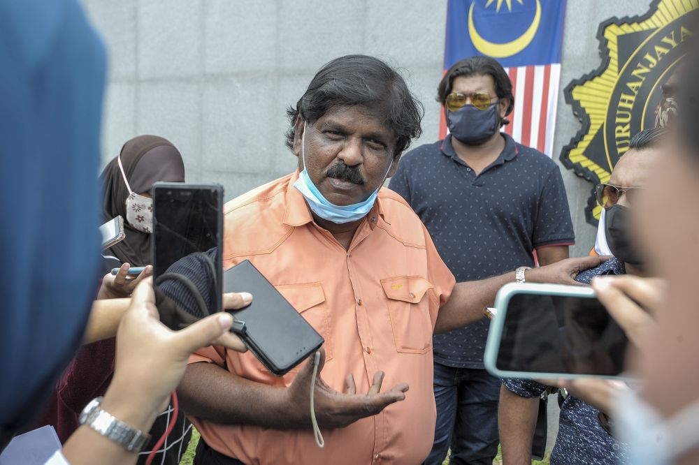 Former MIC Sungai Siput division chief M. Lokanathan speaks to reporters at the MACC's headquarters in Putrajaya September 15, 2020. — Picture by Shafwan Zaidon