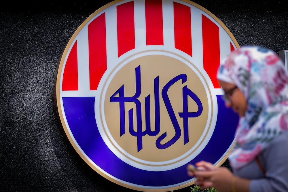 The Employees Provident Fund logo is seen at its headquarters on Jalan Raja Laut January 22, 2020. — Picture by Hari Anggara