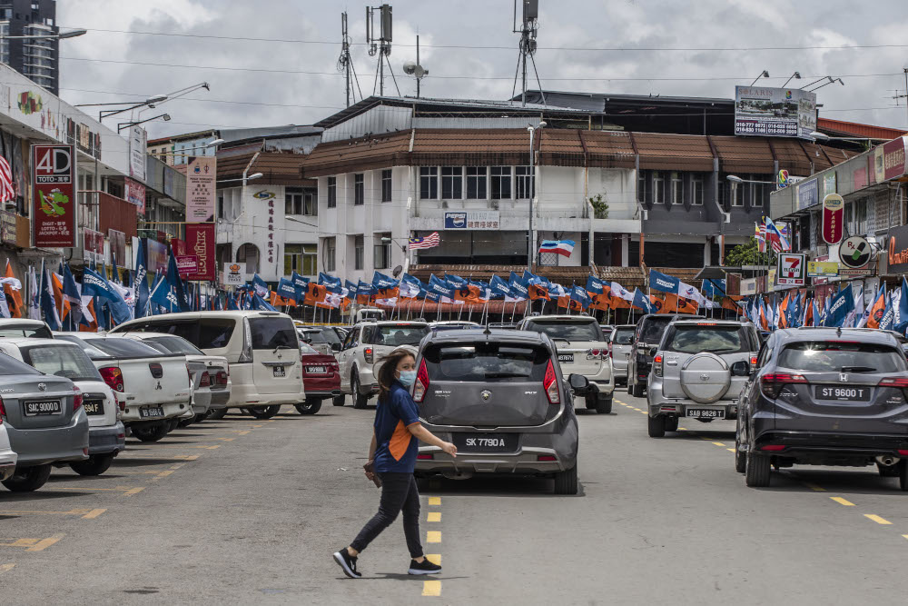 Party flags are seen during the Sabah state election campaign in Luyang, Sabah September 14, 2020. — Picture by Firdaus Latif