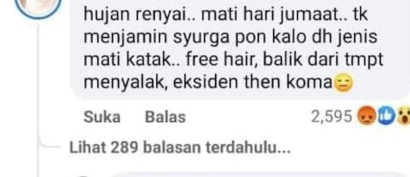 A mean comment posted by a social media user that had sparked criticisms from many social media users including the late singer's mother. — Screengrab via Facebook/WanyHasrita