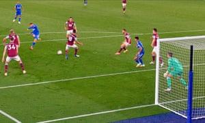 Harvey Barnes scores Leicester's equaliser.