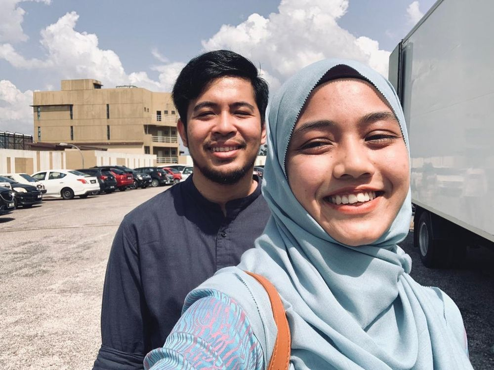 Aqilah (right) with her fiancé, who has been a pillar of support throughout her fight with AD. — Picture courtesy of Nur Aqilah Shaari