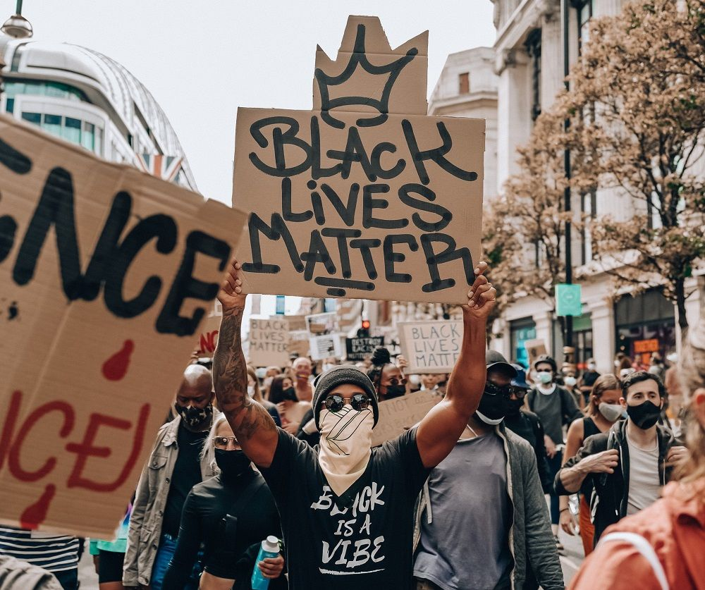 Hamilton posted a photograph of himself holding up a Black Lives Matter sign during an anti-racism protest in London June 21, 2020. — Picture via Twitter
