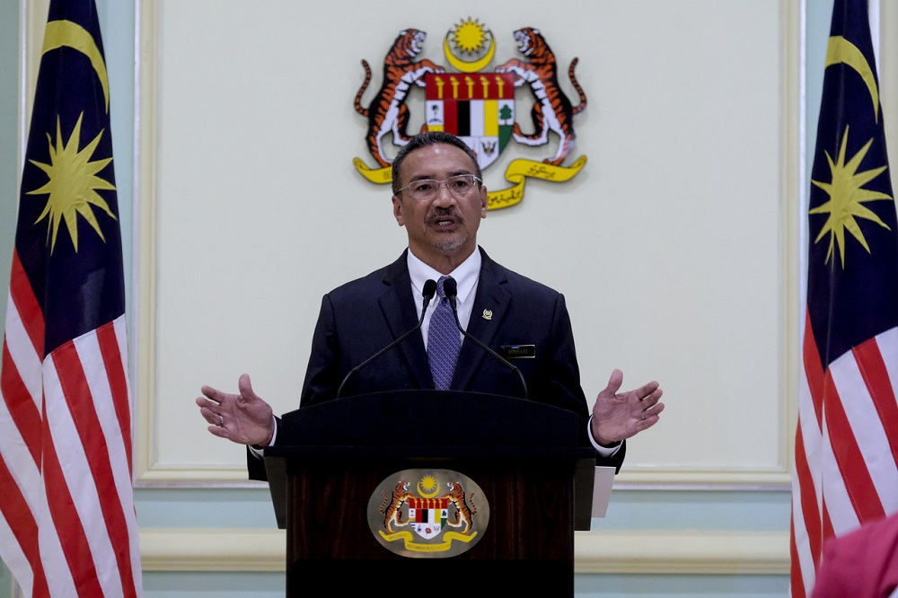 Foreign Minister Datuk Seri Hishammuddin Hussein speaks at a press conference on the 36th Asean Summit in Putrajaya June 25, 2020. — Bernama pic