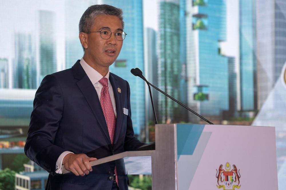 Finance Minister Datuk Seri Tengku Zafrul Abdul Aziz giving a speech at the cheque presentation ceremony for Bandar Malaysia in Kuala Lumpur September 15, 2020. — Bernama pic