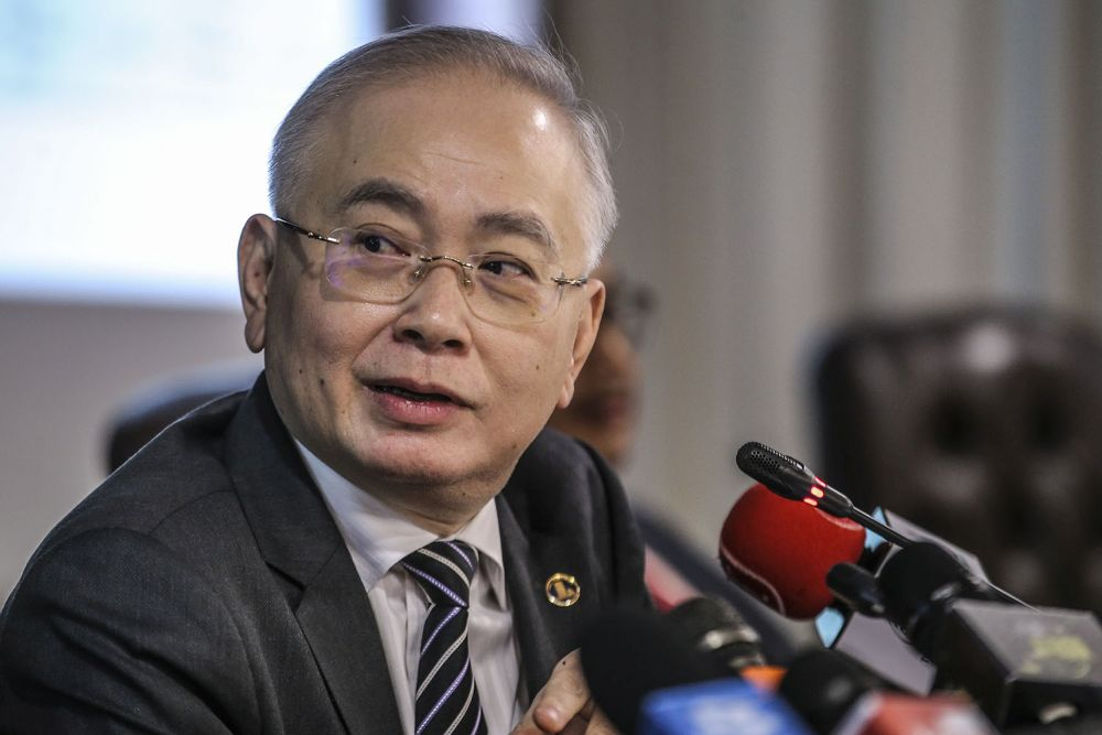 Transport Minister Datuk Seri Wee Ka Siong speaks to reporters during a press conference at Parliament, Kuala Lumpur July 27, 2020. — Picture by Hari Anggara