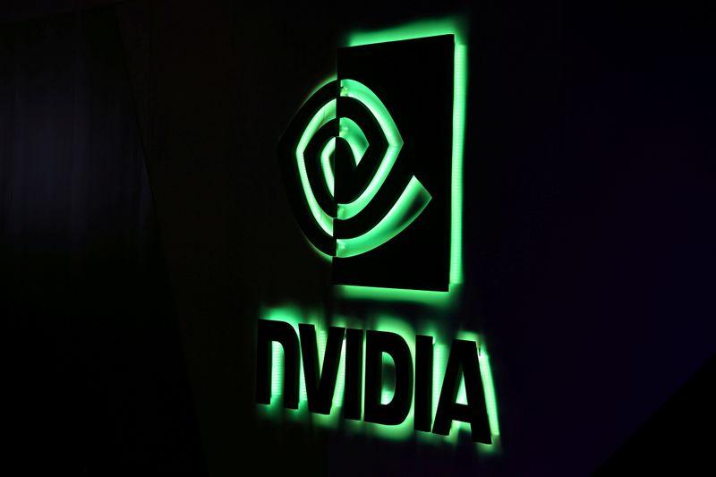 © Reuters. FILE PHOTO: NVIDIA logo shown at SIGGRAPH 2017
