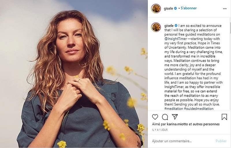 A fervent yoga enthusiast, Gisele Bundchen is bringing her meditation tips to you. — Picture courtesy of Gisele Bündchen / Instagram via AFP