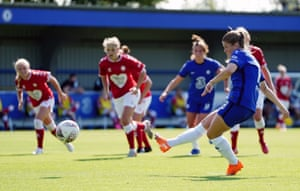 Chelsea's Maren Mjelde scores her side's second goal of the game from a penalty.
