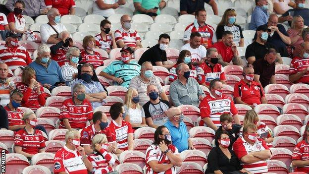 Gloucester fans inside Kingsholm watching their match against Harlequins