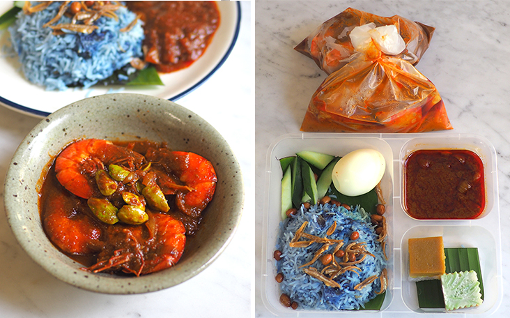 Relish the delicious 'sambal' prawns with 'petai' for a satisfying lunch (left). Your meal is packed in a box with compartments making it easy to eat while the side dishes are placed in plastic bags (right)