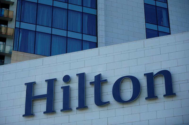 © Reuters. FILE PHOTO:  Logo of Hilton hotel is seen in Batumi