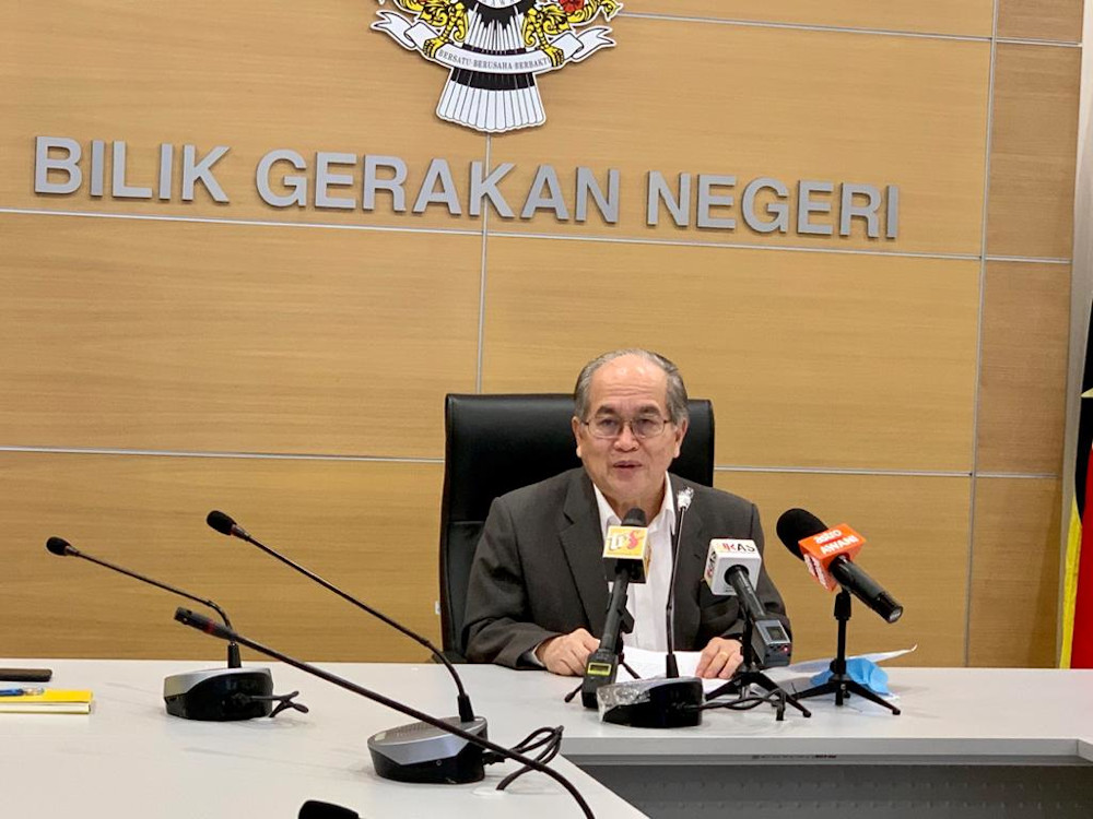 Deputy Chief Minister Datuk Amar Douglas Uggah giving a press conference April 20, 2020. — Picture courtesy of Sarawak Public Communications Unit (Ukas)