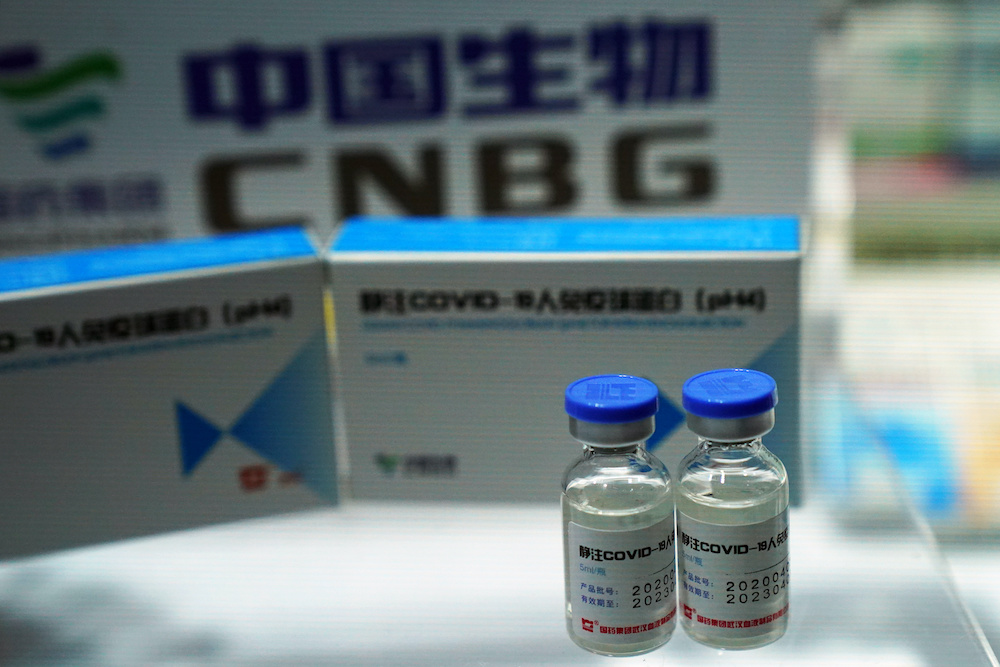 A booth displaying a coronavirus vaccine candidate from China National Biotec Group (CNBG), is seen at the 2020 China International Fair for Trade in Services (CIFTIS), following the Covid-19 outbreak, in Beijing, China September 4, 2020. — Reuters pic