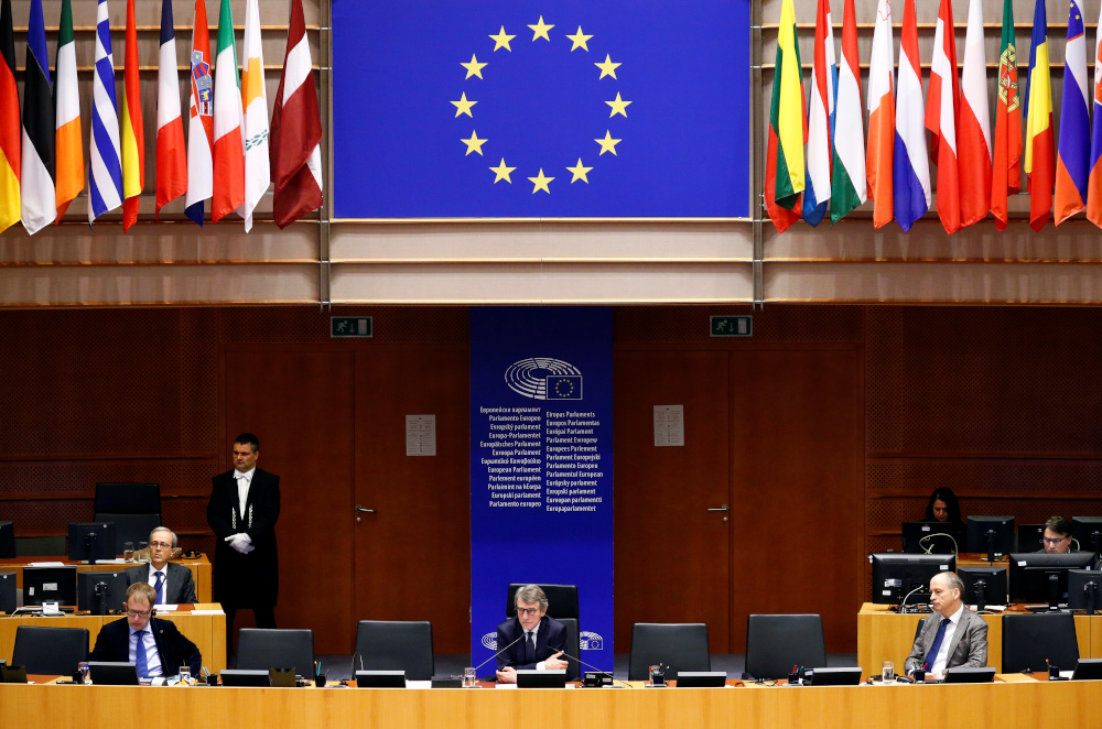 European Parliament President David Sassoli attends a special session of the European Parliament to approve special measures to soften the sudden economic impact of coronavirus disease in Brussels, Belgium March 26, 2020. — Reuters pic