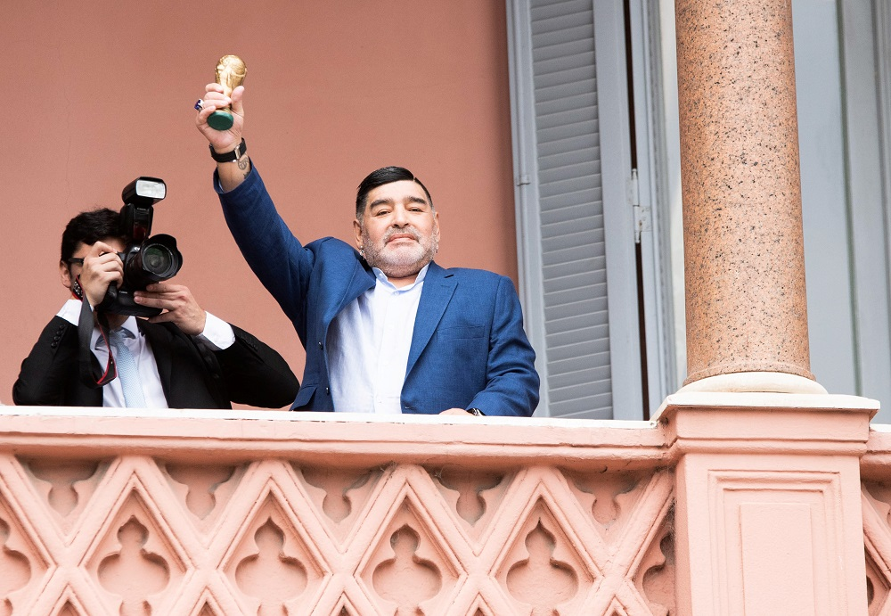 Diego Maradona was kept in over the weekend suffering from withdrawal symptoms caused by alcohol dependency. — Reuters pic