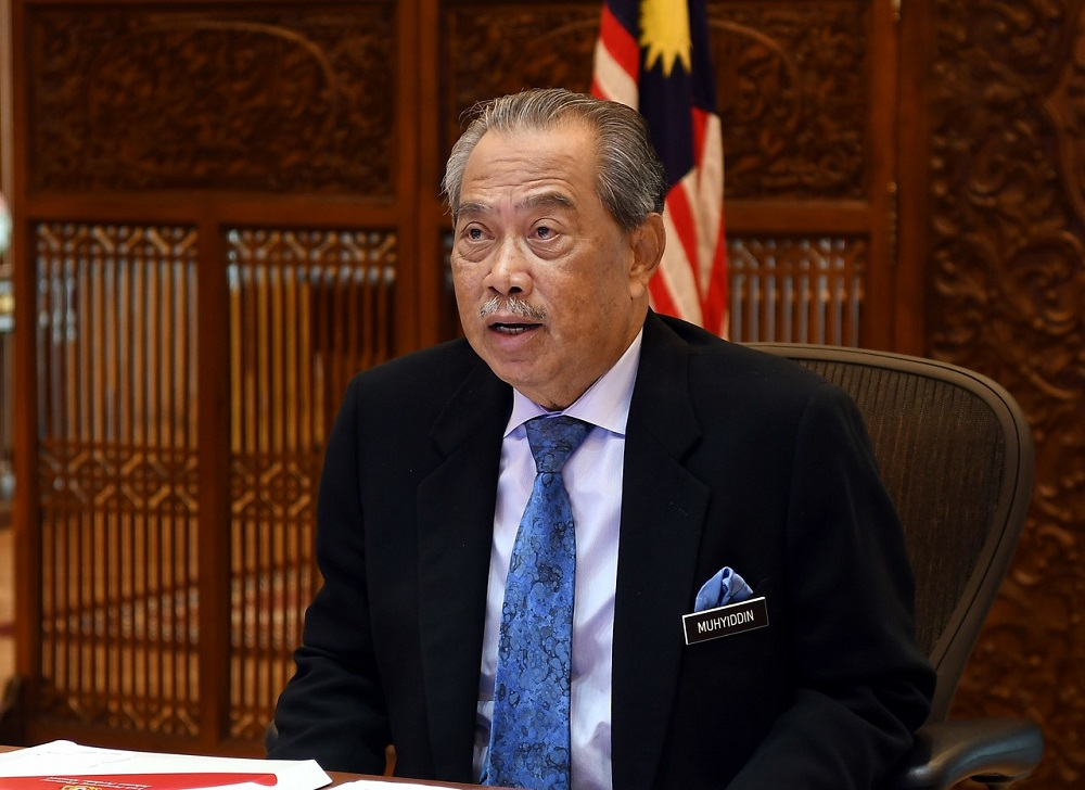 Prime Minister Tan Sri Muhyiddin Yassin chairing the National Security Council special meeting via video teleconferencing on the latest situation of the Covid-19 infections in the country, in Putrajaya October 19, 2020. — Bernama pic