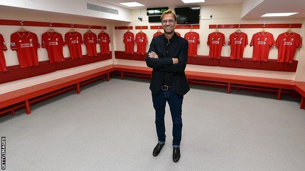 Jurgen Klopp on his first day as Liverpool boss in October 2015