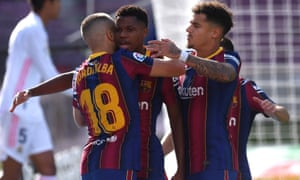 Ansu Fati of Barcelona celebrates after he scores his team's first goal.