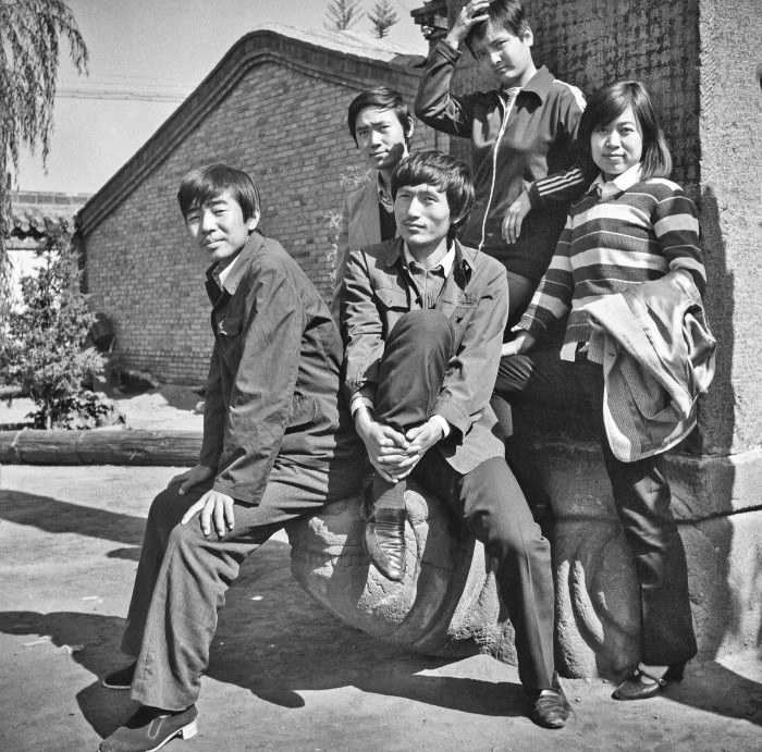 Group posing with an imperial turtle stele in Datong