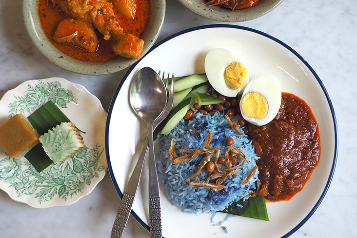 The 'nasi lemak' has blue-tinged basmati rice and is served with dessert of 'cendol' jelly and the 'talam' Tokyo