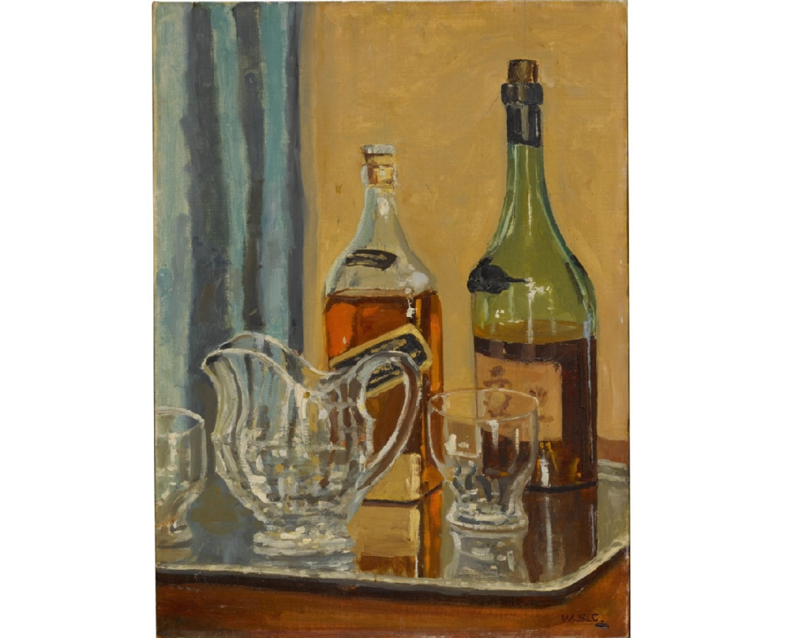 Painted at Churchill's country house of Chartwell, in southeast England, the still life called 'Jug with Bottles' is expected to sell for up to £250,000 (RM1.35 million). ― Picture courtesy of Sotheby's via AFP