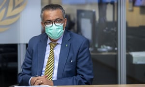 Tedros Adhanom Ghebreyesus, Director General of the World Health Organization, speaks during a visit of the Presidents of the Swiss Federal Chambers, at the WHO headquarters in Geneva, Switzerland, 15 October 2020.