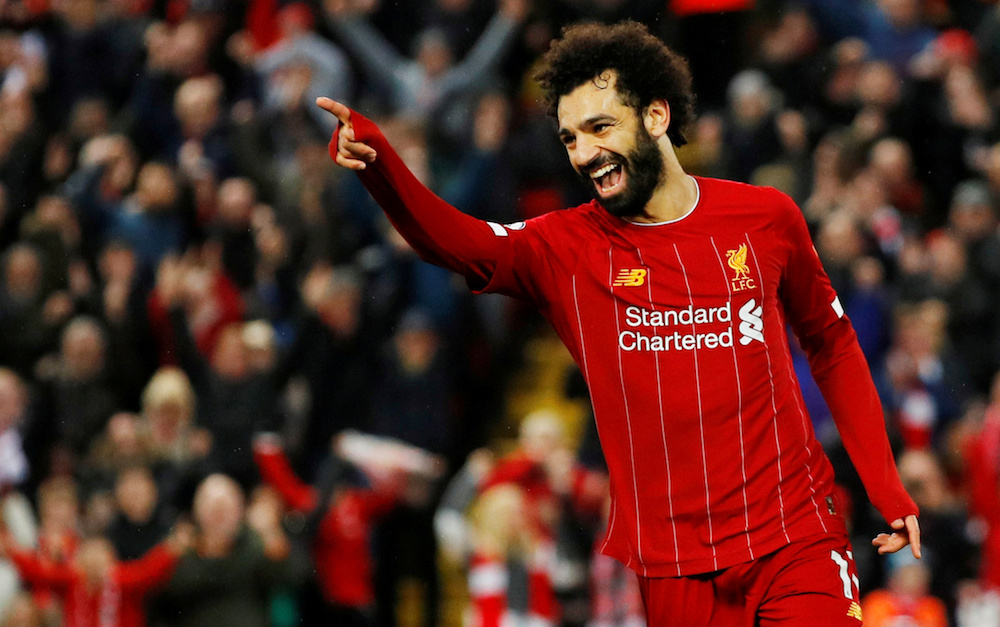 File photo of Liverpool's Mohamed Salah celebrating scoring their fourth goal during the Premier League match with Southampton at Anfield in Liverpool February 1, 2020. — Reuters pic
