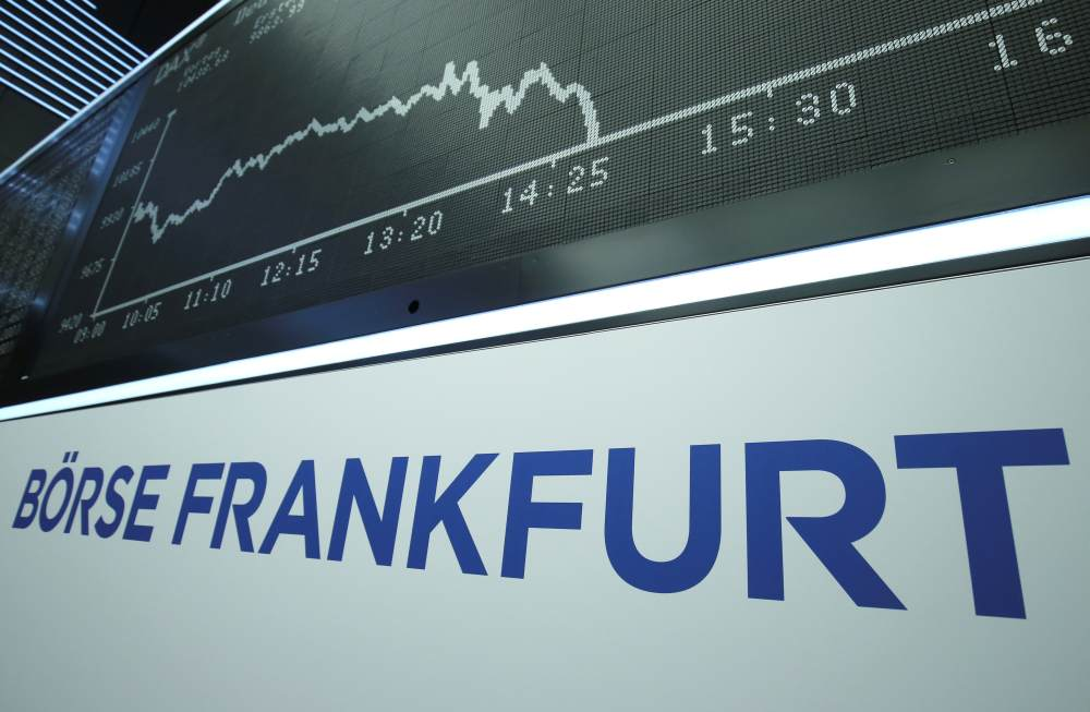 The German DAX Index graph is pictured during a trading session at Frankfurt's stock exchange in Frankfurt. ― Reuters pic