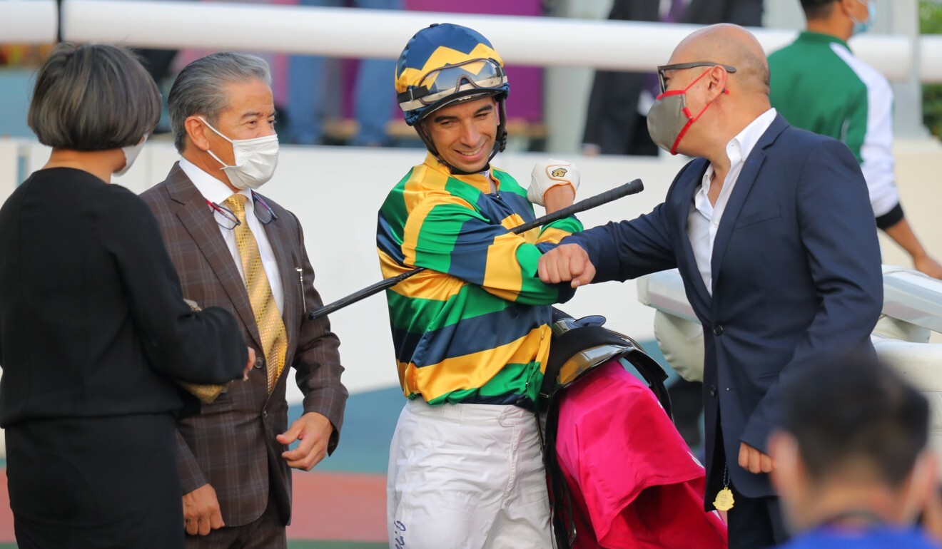 Joao Moreira with the connections of Furore after winning the Group Three Ladies' Purse at Sha Tin.