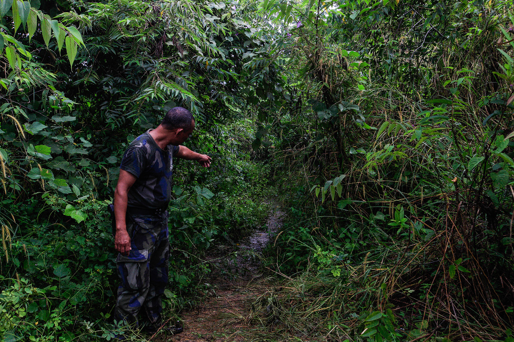 Judin Alwie, 43, one of the PGA personnel under the 3rd Battallion showing the place where the late Baharuddin Ramli`s body was found after the shootout here in Padang Besar November 24, 2020. — Picture by Sayuti Zainudin