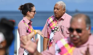 New Zealand's Prime Minister Jacinda Ardern and Fiji's Frank Bainimarama, pictured here in Tuvalu, have led Pacific congratulations to the president-elect.