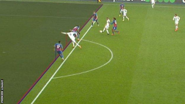 A screengrab of the Patrick Bamford offside decision against Palace