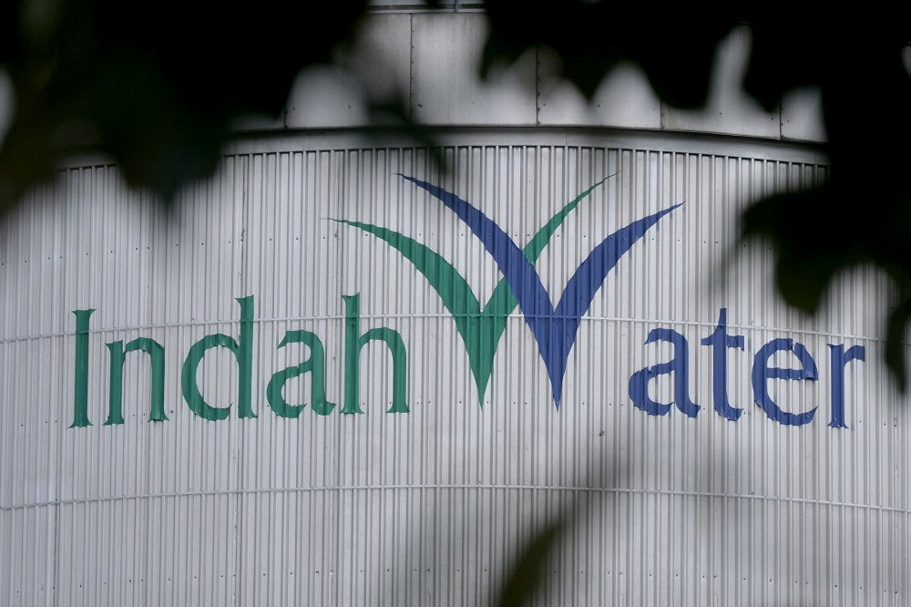 The Indah Water logo is pictured at the Pantai 2 Sewage Treatment Plant in Kuala Lumpur July 25, 2019. — Picture by Mukhriz Hazim