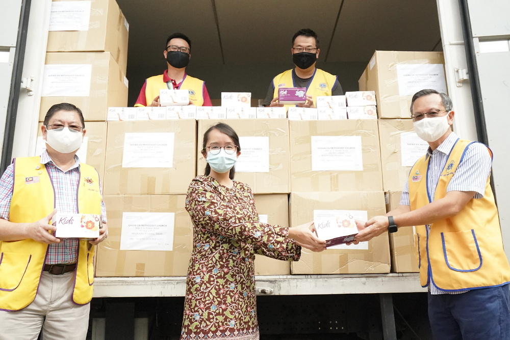 The face masks will be distributed to children around Sabah, especially those from underprivileged families. — Picture courtesy of SJ Echo