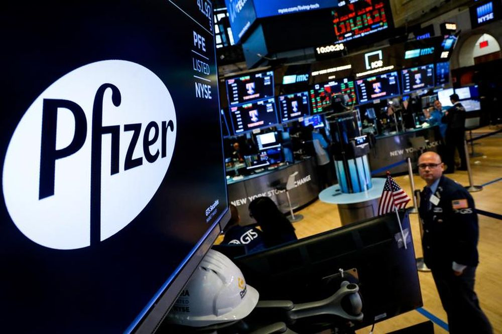 A logo for Pfizer is displayed on a monitor on the floor at the New York Stock Exchange (NYSE) in New York, US, July 29, 2019. — Reuters pic