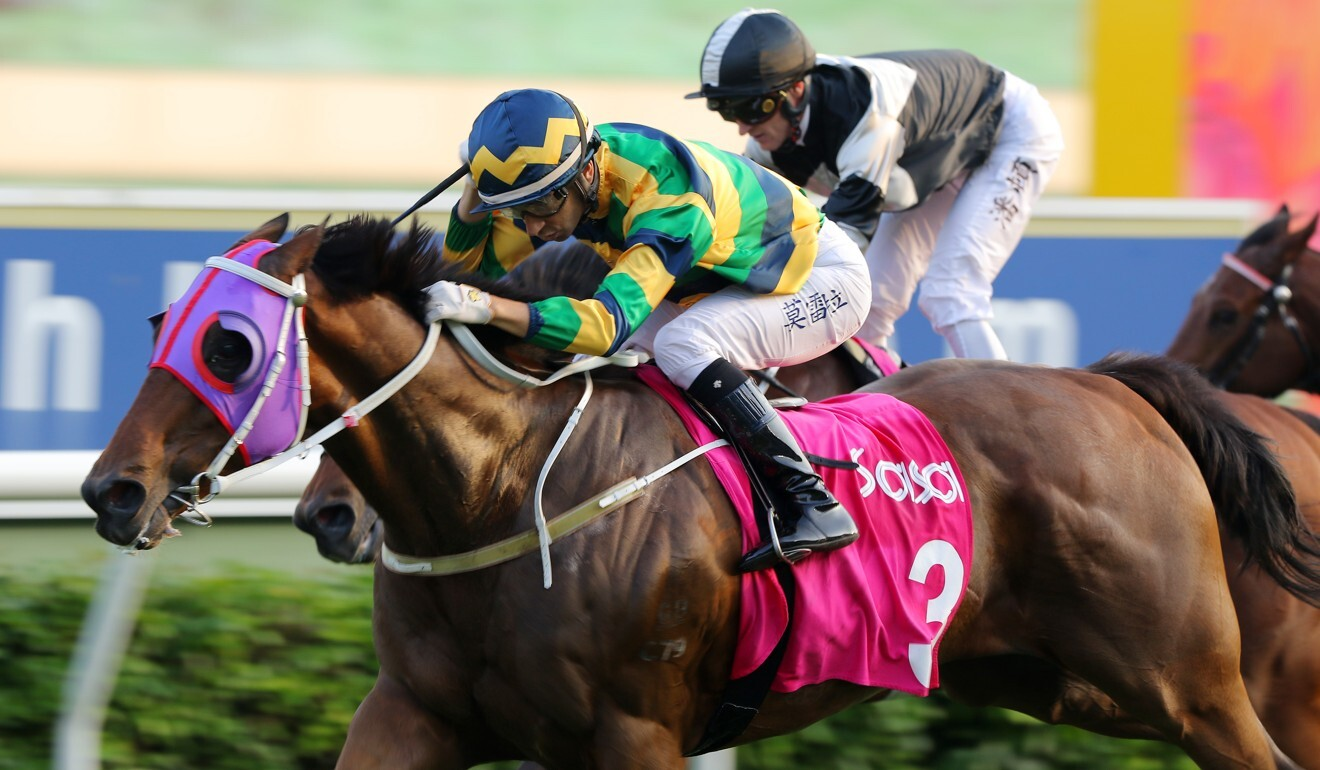 Joao Moreira boots home Furore at Sha Tin.