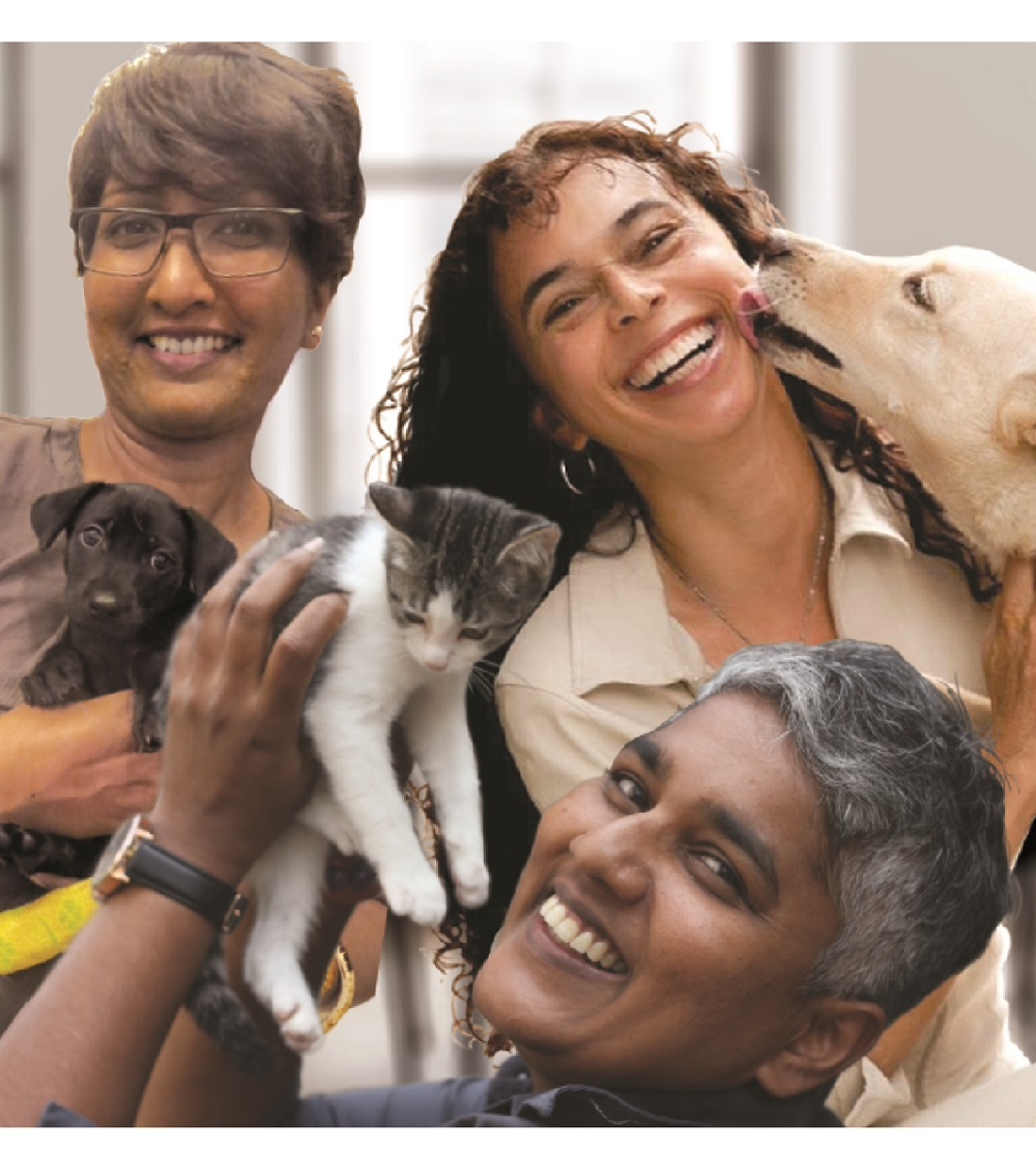 Pet Adoption Network Malaysia founders Sherrina Krishnan-Leyow (centre) Catherine Leyow (right) and Sujatani Poosparajah (left)  ― Picture by Pet Adoption Network Malaysia