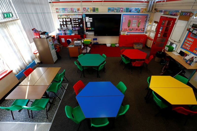 © Reuters. General view of a empty classroom at Nettlefield Primary School as the majority of schools in the UK close while the spread of the coronavirus disease (COVID-19) continues