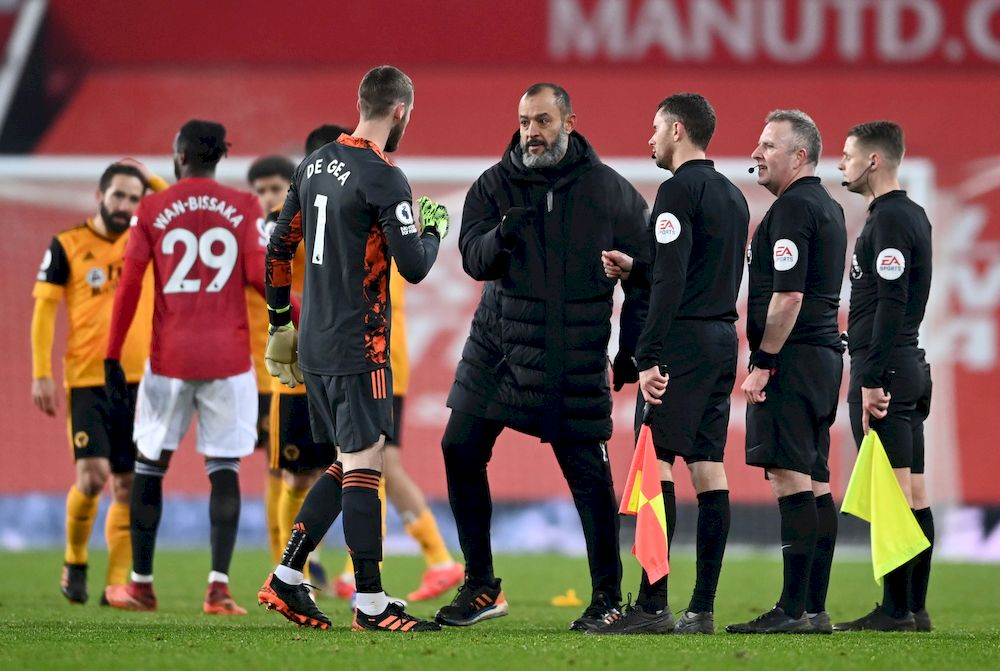 Wolverhampton Wanderers manager Nuno Espirito Santo after the Premier League match against Manchester United at Old Trafford, Manchester December 29, 2020. — Reuters pic