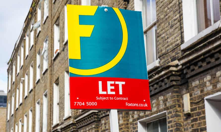 Foxtons sign To Let outside terraced houses in South London