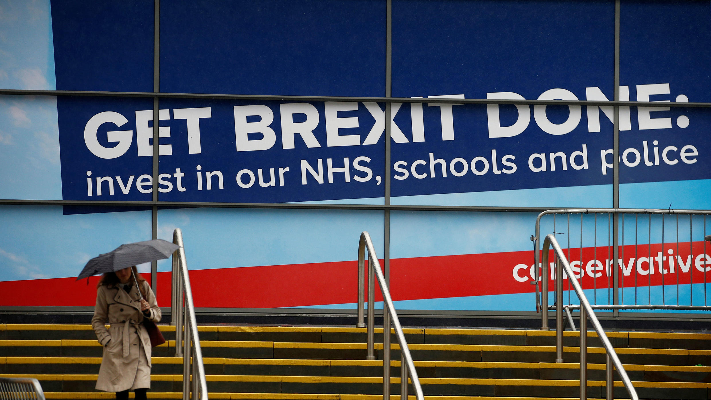 """""""Get Brexit Done"""" became the Tories' main slogan at the party's conference in September 2019."""