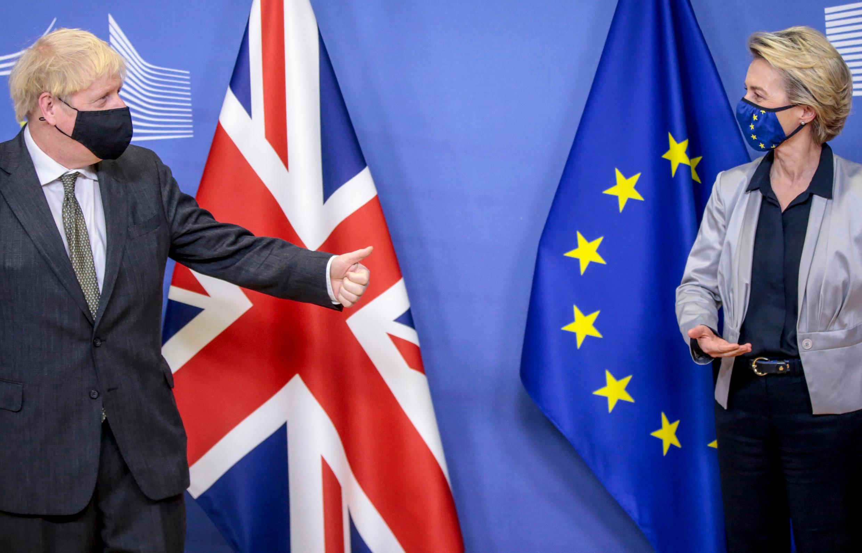 Boris Johnson and Ursula von der Leyen pictured in Brussels on December 9, 2020.