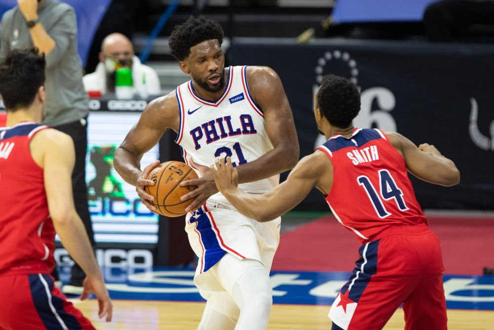 Philadelphia 76ers center Joel Embiid (21) handles the ball against Washington Wizards guard Ish Smith (14) during the third quarter at Wells Fargo Centre. — Reuters pic