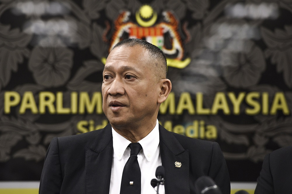 Datuk Seri Nazri Aziz speaks during a press conference at Parliament in Kuala Lumpur August 18, 2020. ― Picture by Miera Zulyana