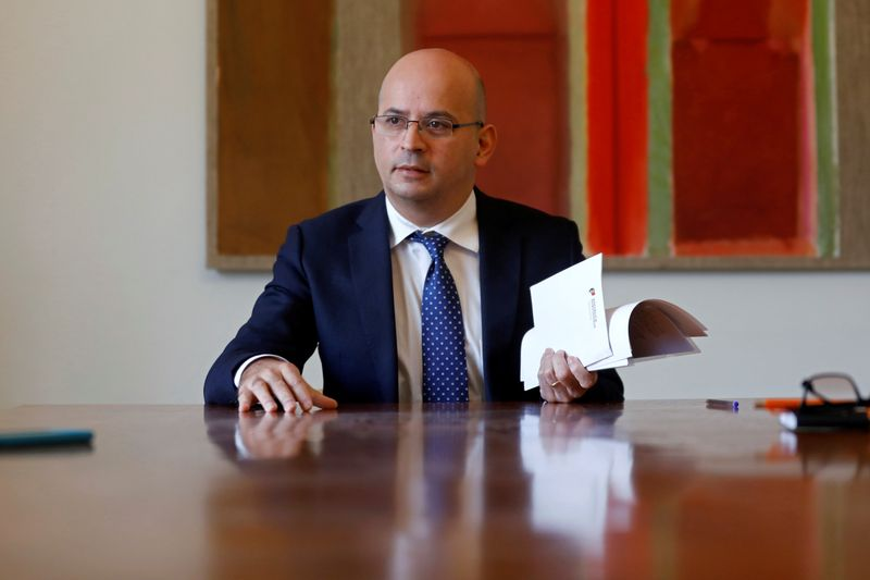 © Reuters. Interview with Portugal's Finance Minister Joao Leao in Lisbon